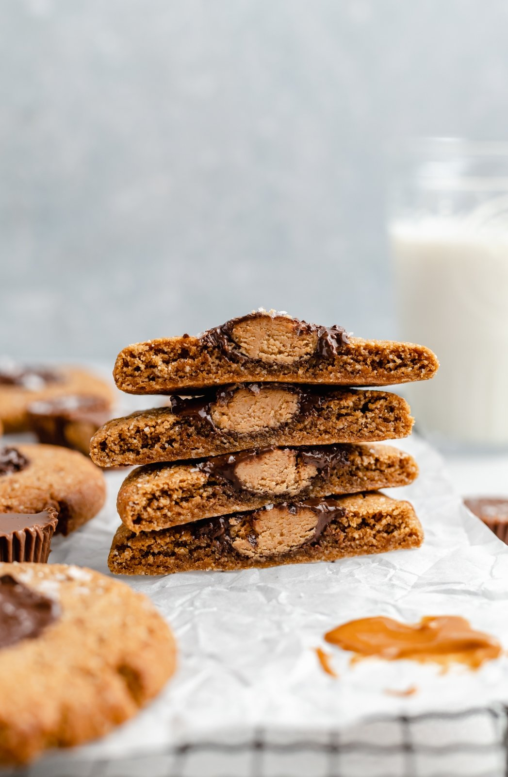 stack of gluten free peanut butter cup cookies