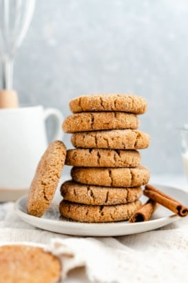 grain free snickerdoodles in a stack on a plate