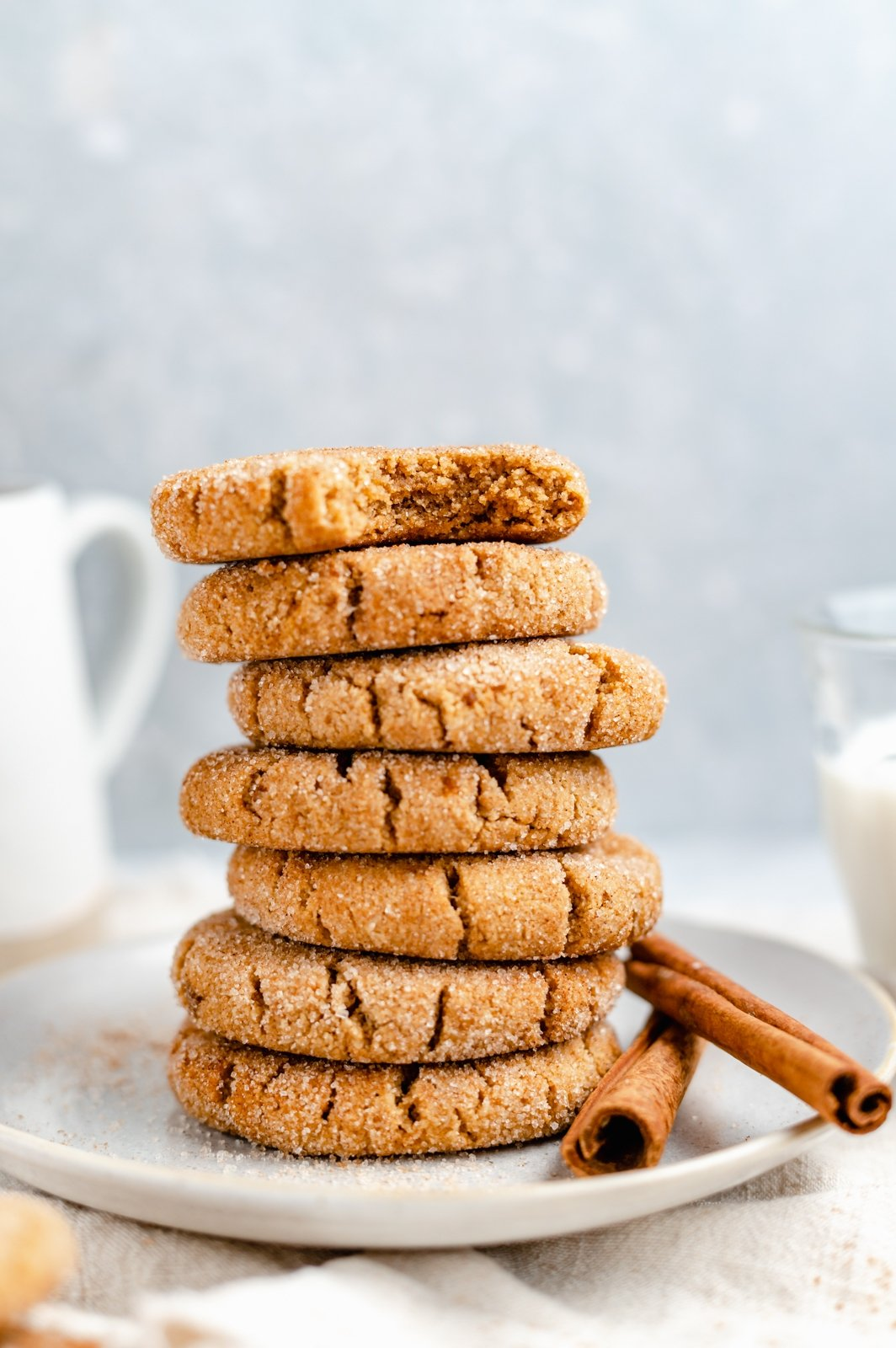 paleo snickerdoodles in a stack on a plate