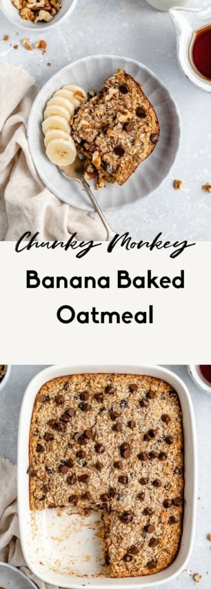 collage of healthy banana baked oatmeal