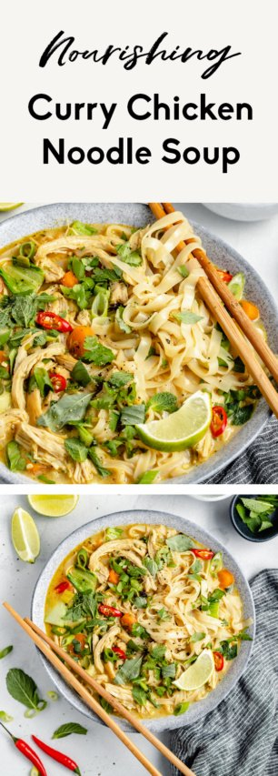 collage of curry chicken noodle soup