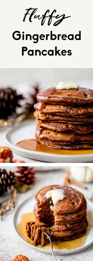 collage of fluffy gingerbread pancakes