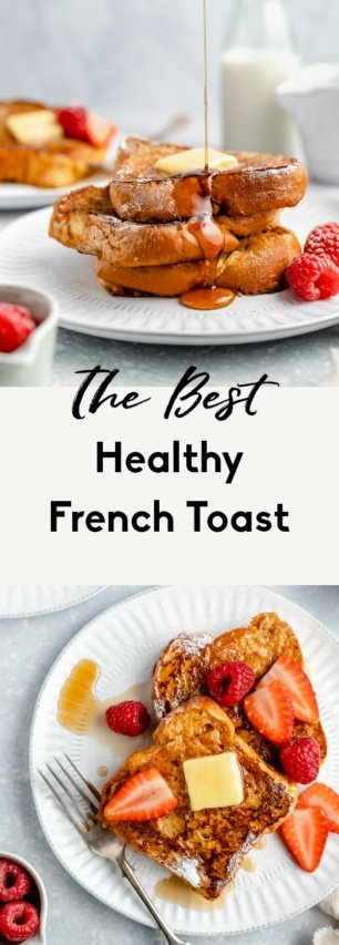 collage of healthy french toast