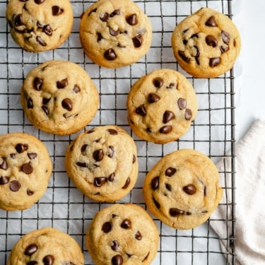 chickpea flour chocolate chip cookies on a wire rack