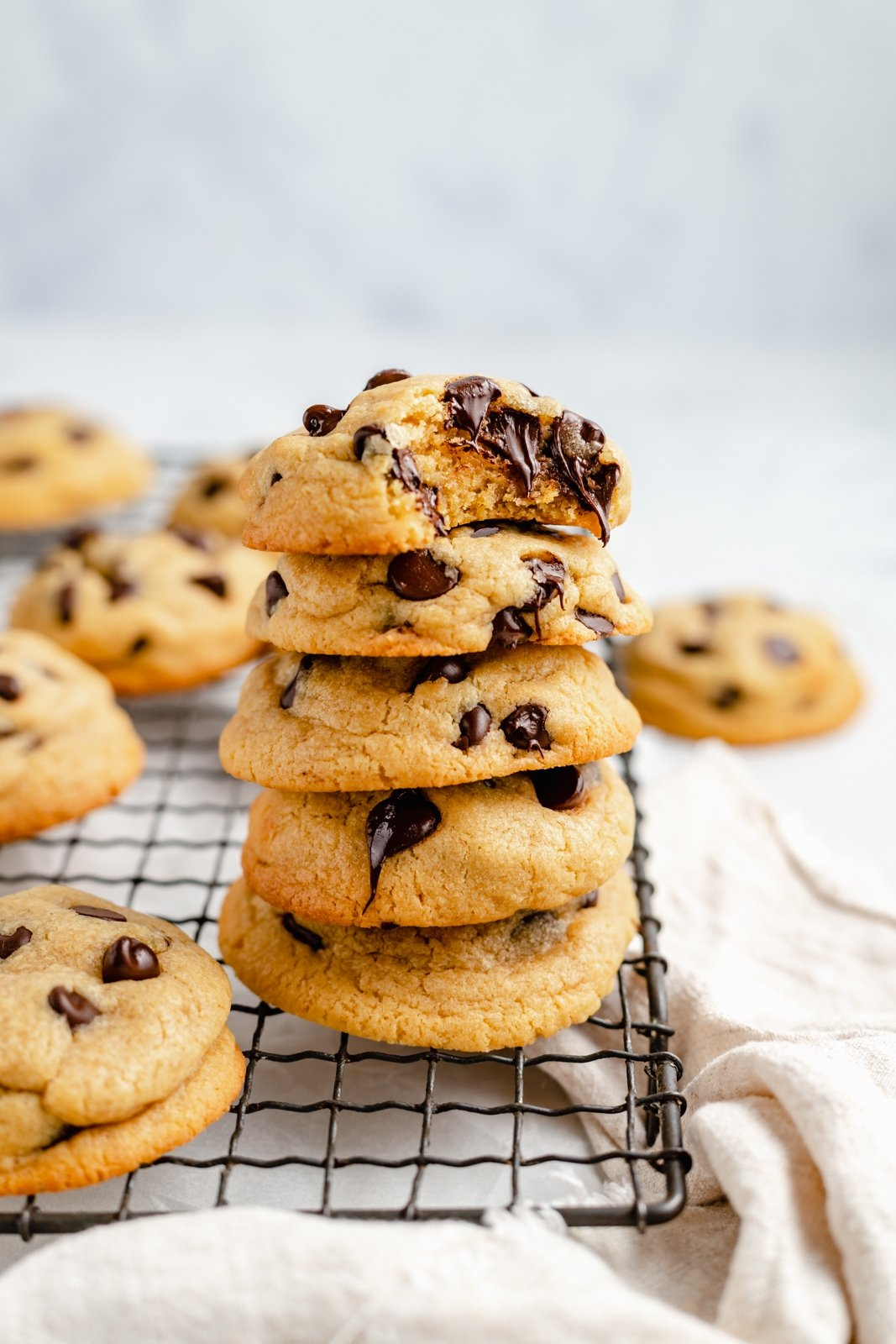 chickpea flour cookies in a stack