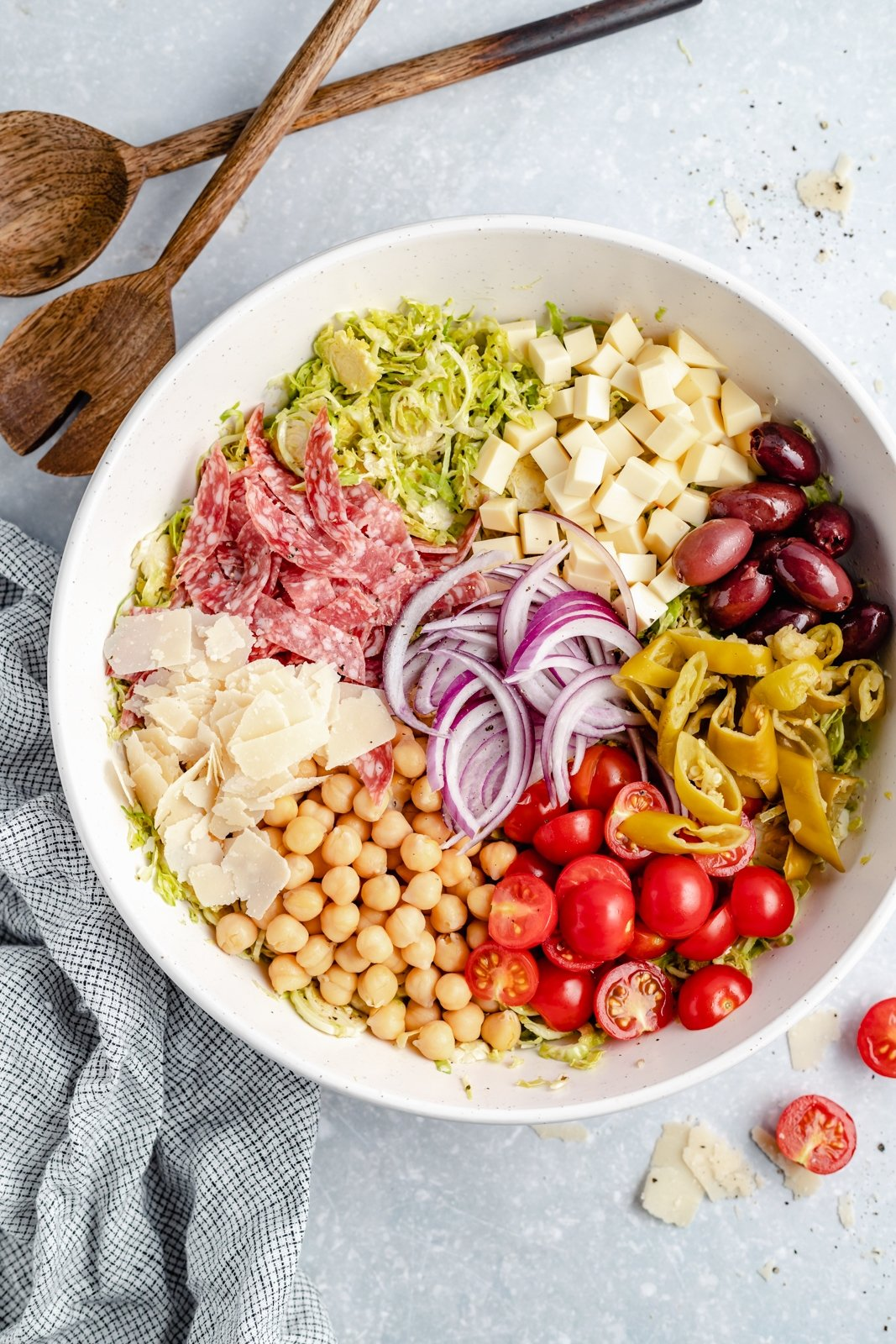ingredients for Italian chopped salad in a bowl