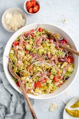 italian chopped salad with brussels sprouts in a bowl