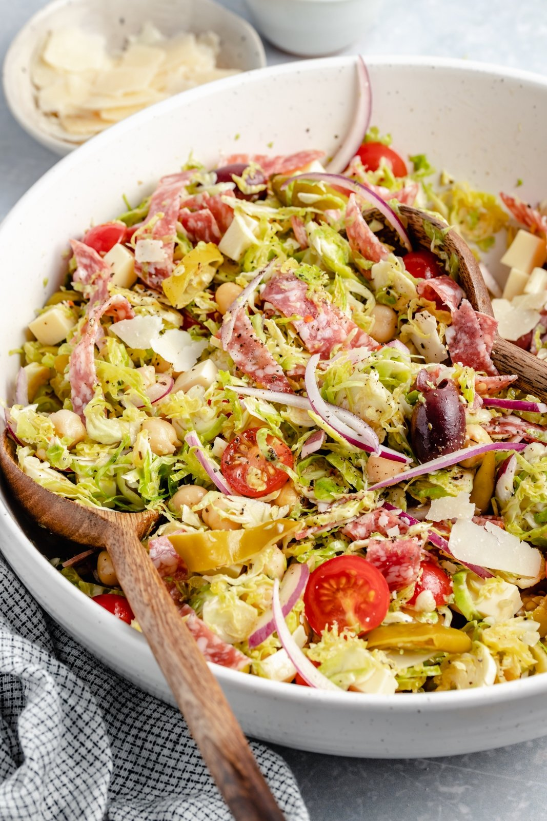 italian chopped brussels sprouts salad in a bowl