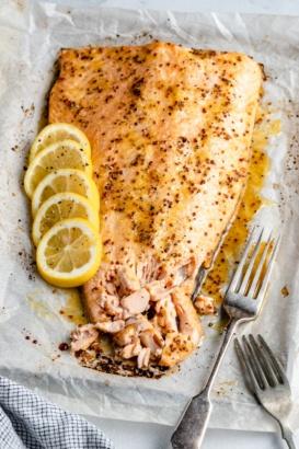 lemon garlic salmon on a baking sheet