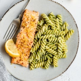 easy lemon garlic salmon a plate with pasta
