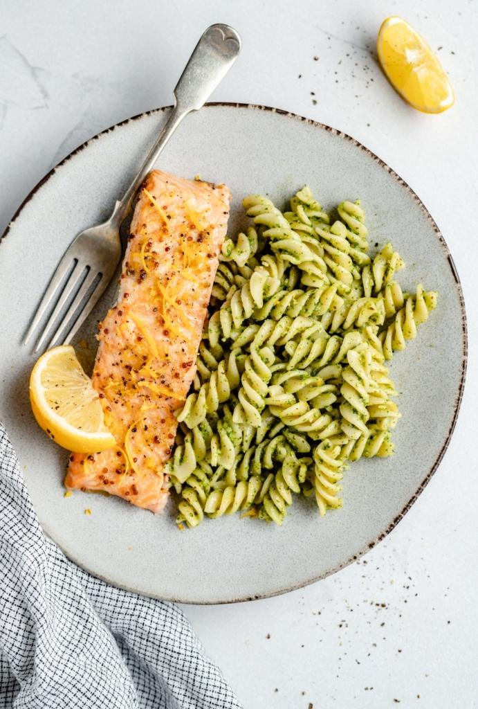 easy lemon garlic salmon a plate with pasta
