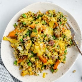 cauliflower quinoa salad on a plate