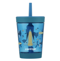 blue cup with a straw