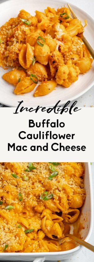 collage of buffalo cauliflower mac and cheese