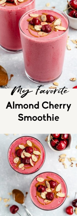 collage of a cherry smoothie