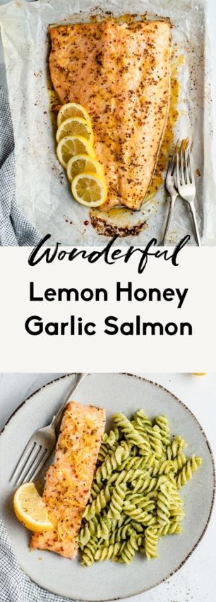collage of lemon garlic salmon