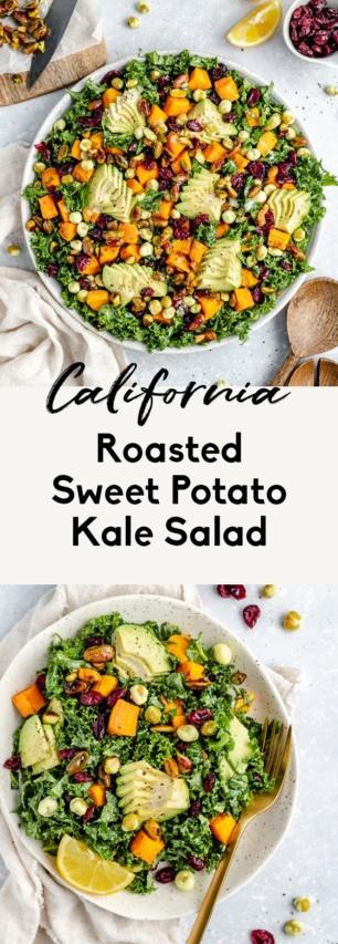 collage of a vegan sweet potato kale salad
