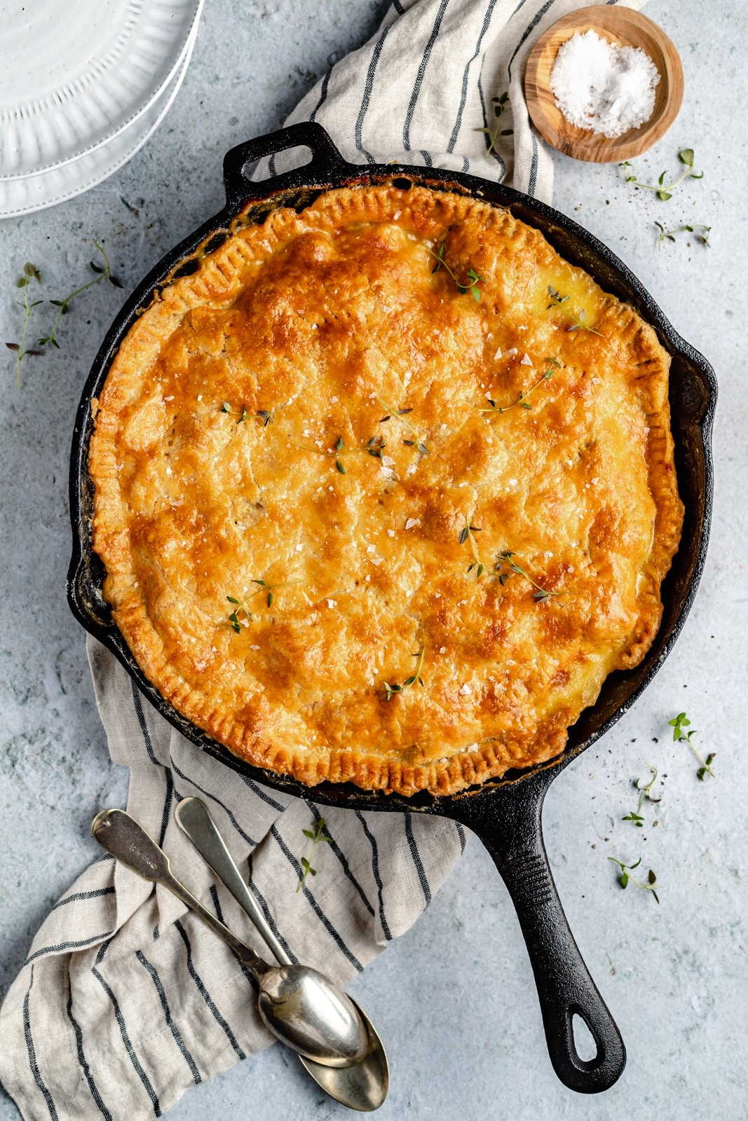 broccoli cheese chicken pot pie in a skillet