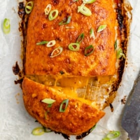 buffalo chicken meatloaf stuffed with cheese and sliced