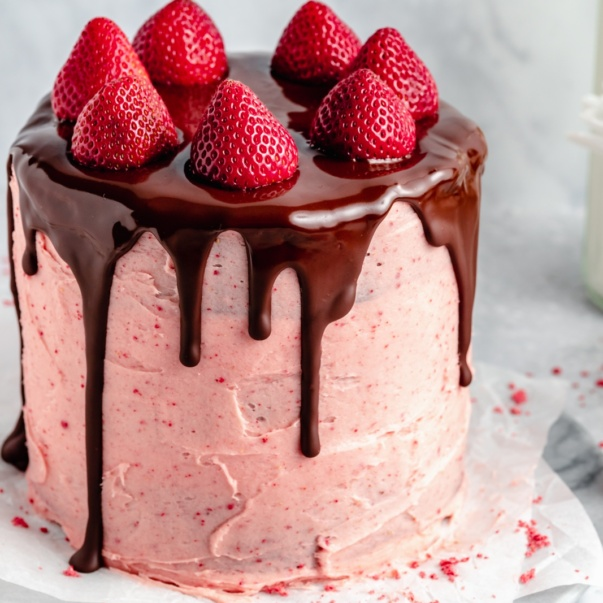 gluten free chocolate strawberry cake on a plate