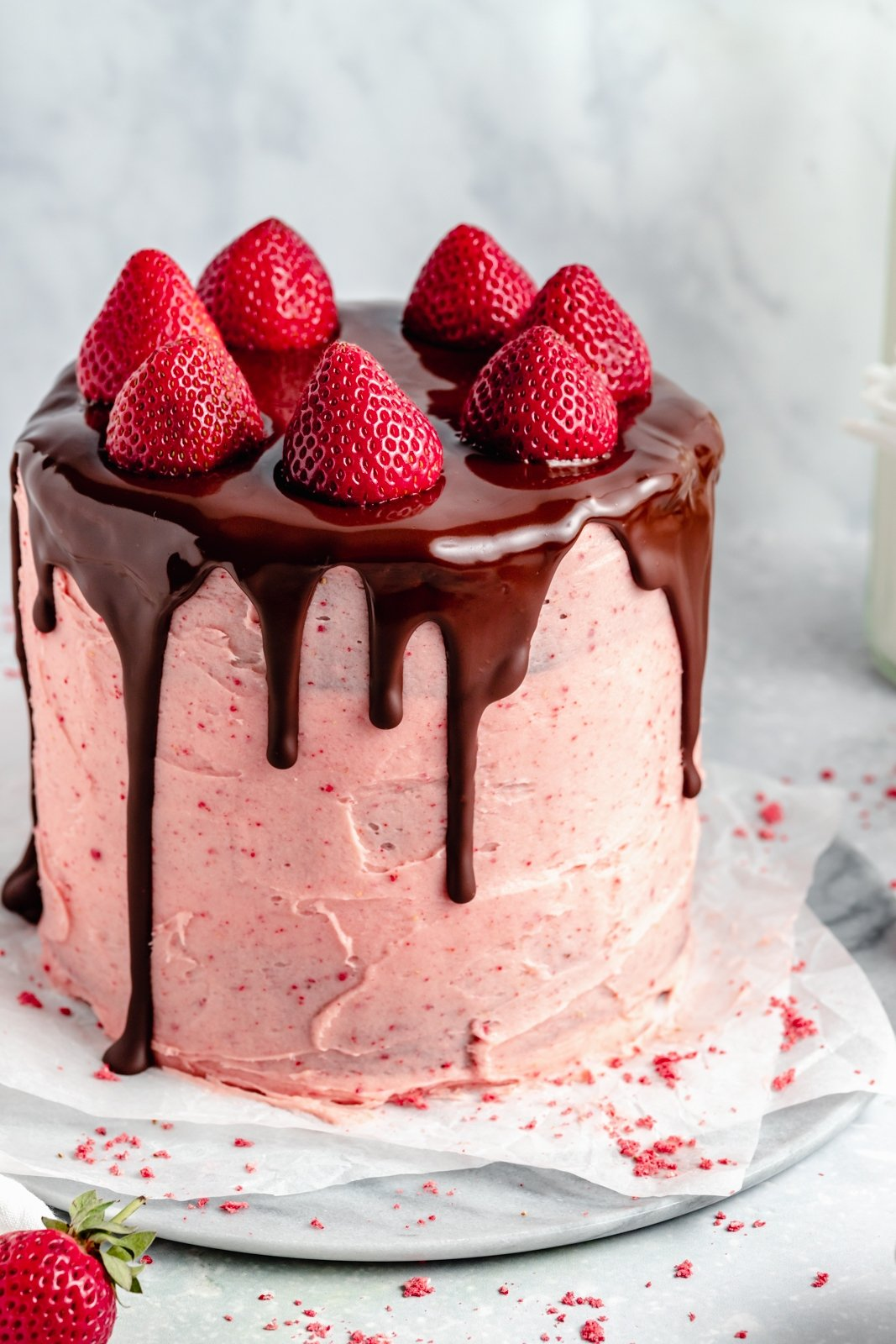 gluten free chocolate strawberry cake on a plate