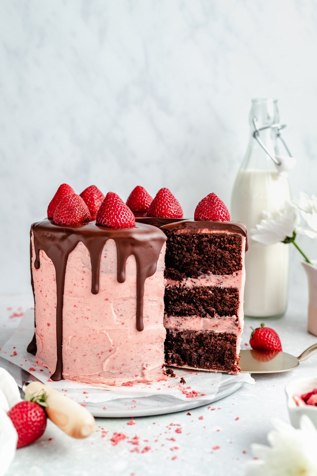 grain free chocolate strawberry cake on a plate