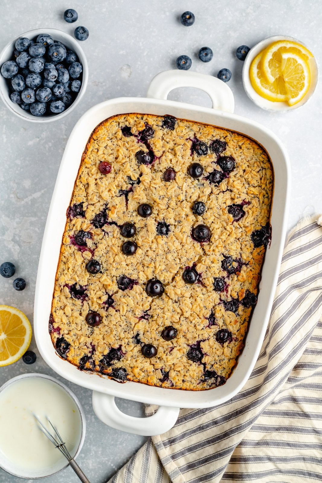 blueberry baked oatmeal in a baking dish
