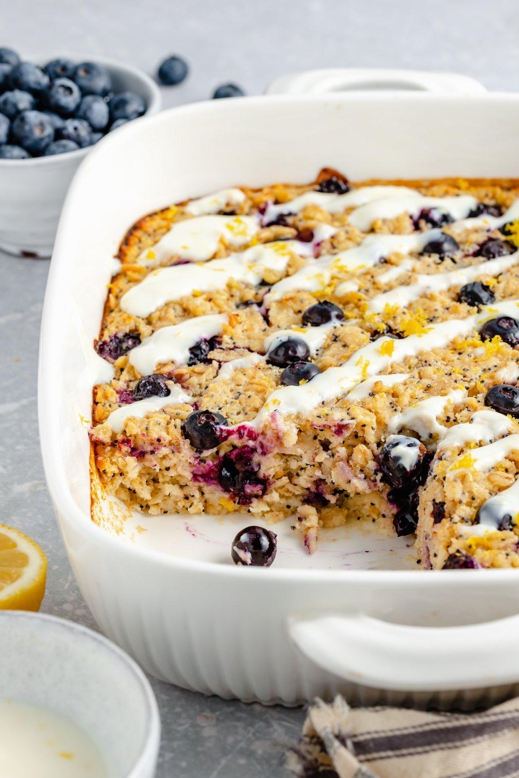 lemon blueberry baked oatmeal in a baking dish