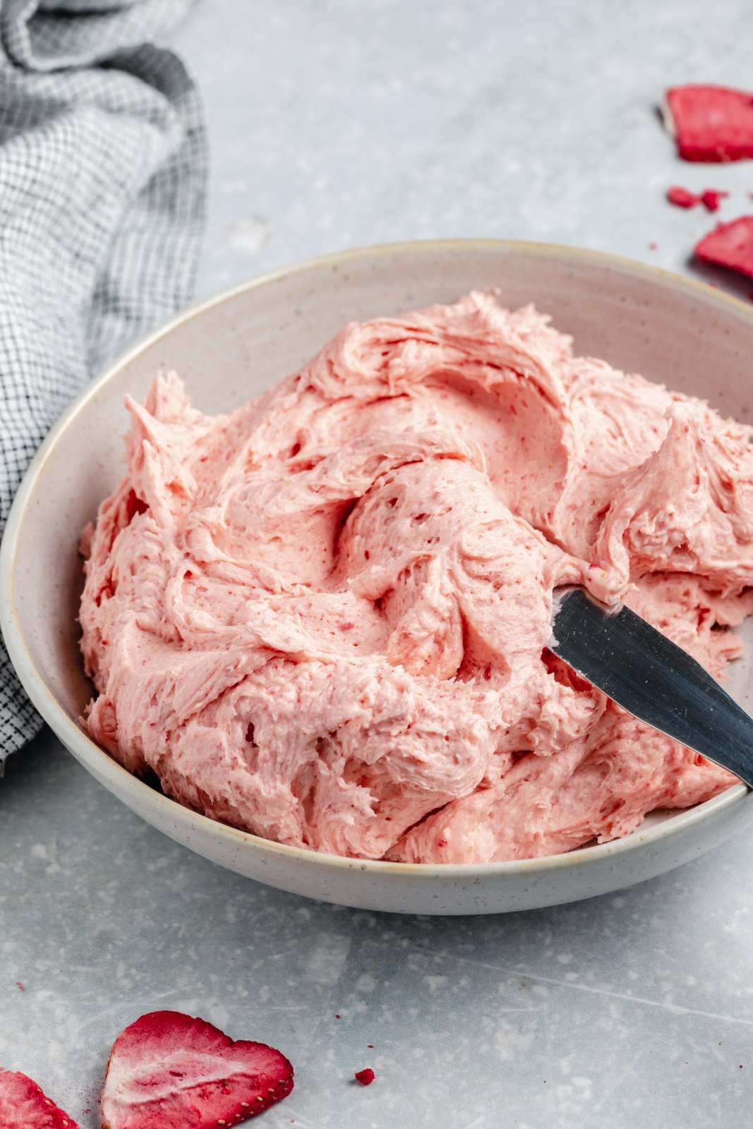 strawberry buttercream in a bowl