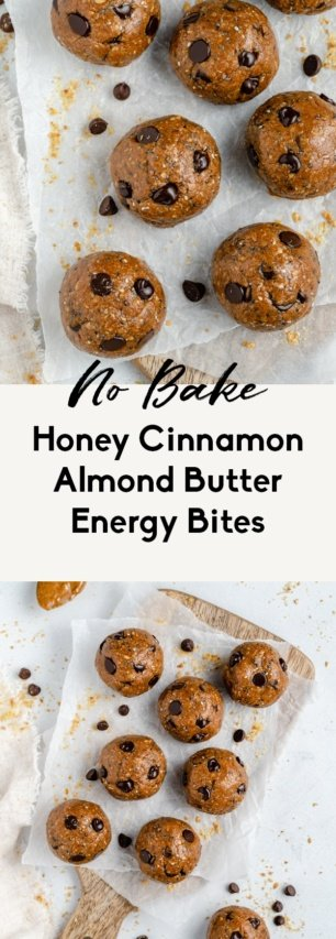 collage of almond butter energy bites