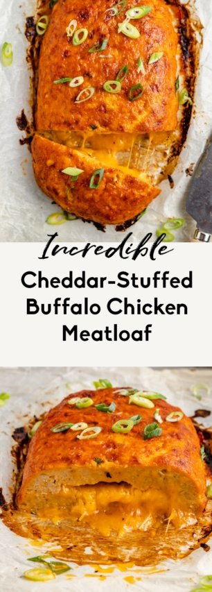 collage of low carb buffalo chicken meatloaf