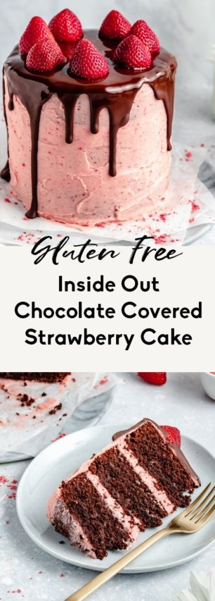 collage of a chocolate strawberry cake recipe