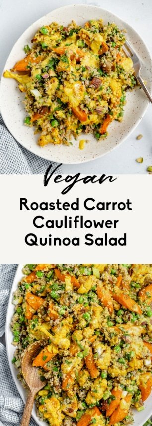 collage of a roasted cauliflower quinoa salad