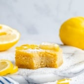 healthy lemon bar with a bite taken out