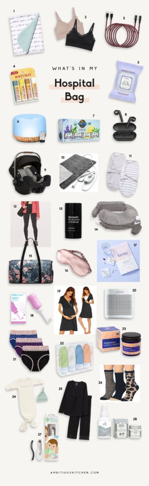 collage of what's in a new mom's hospital bag
