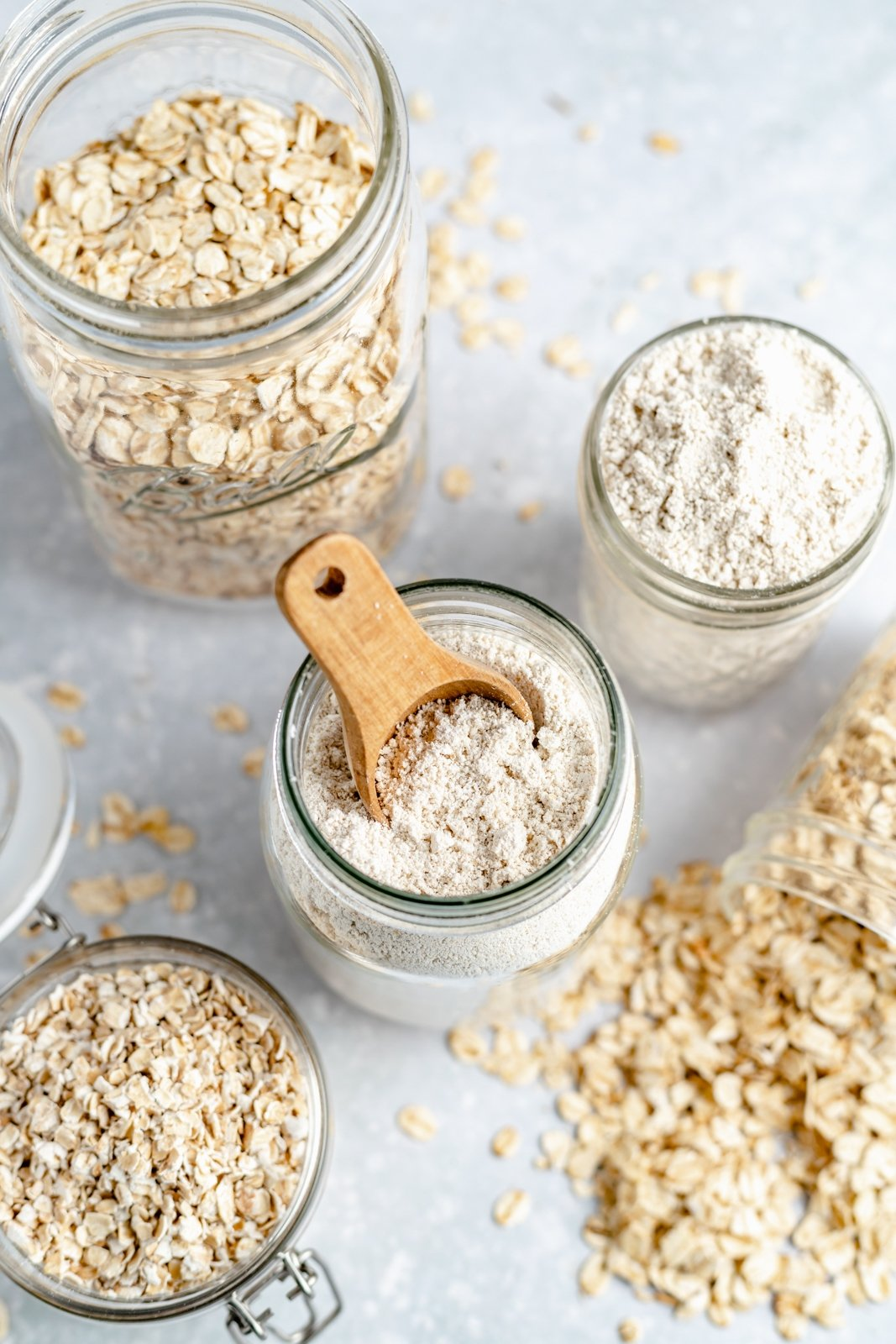 jars of oats and oat flour