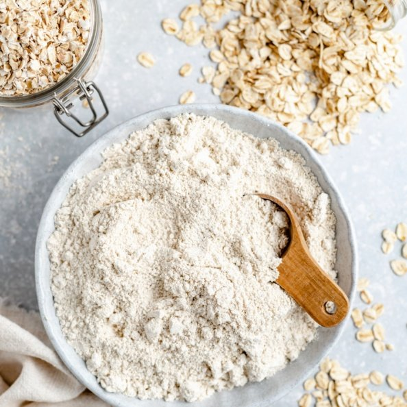 homemade oat flour in a bowl