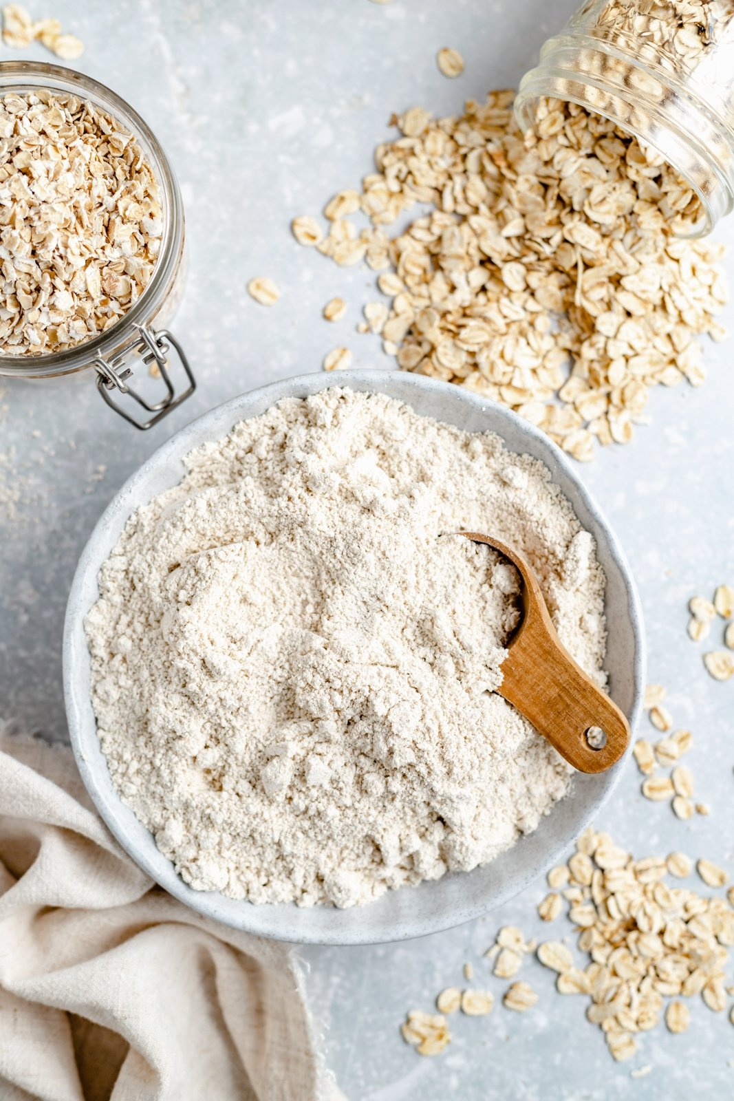 easy homemade oat flour in a bowl