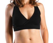 woman in a black nursing bra