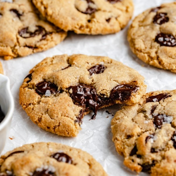 vegan chocolate chip cookies on parchment paper