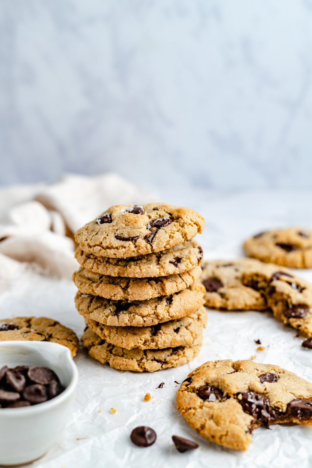 vegan and gluten free chocolate chip cookies in a stack