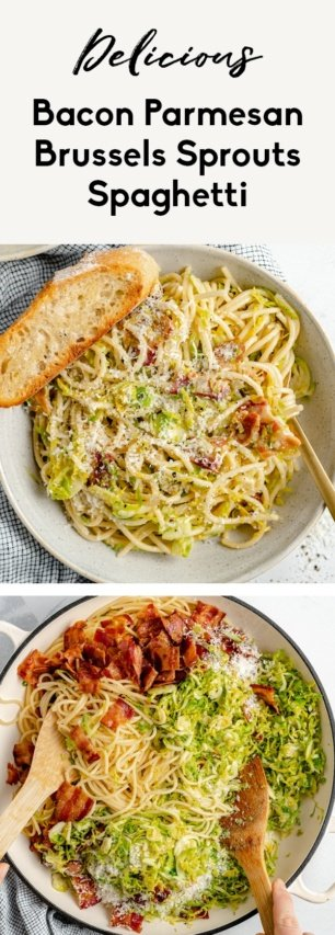 collage of brussels sprouts spaghetti