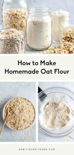 collage of how to make homemade oat flour