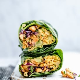 curry chickpea salad wrap cut in half