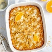orange baked oatmeal in a baking dish