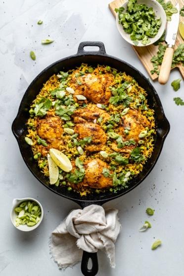 tandoori chicken with rice in a skillet