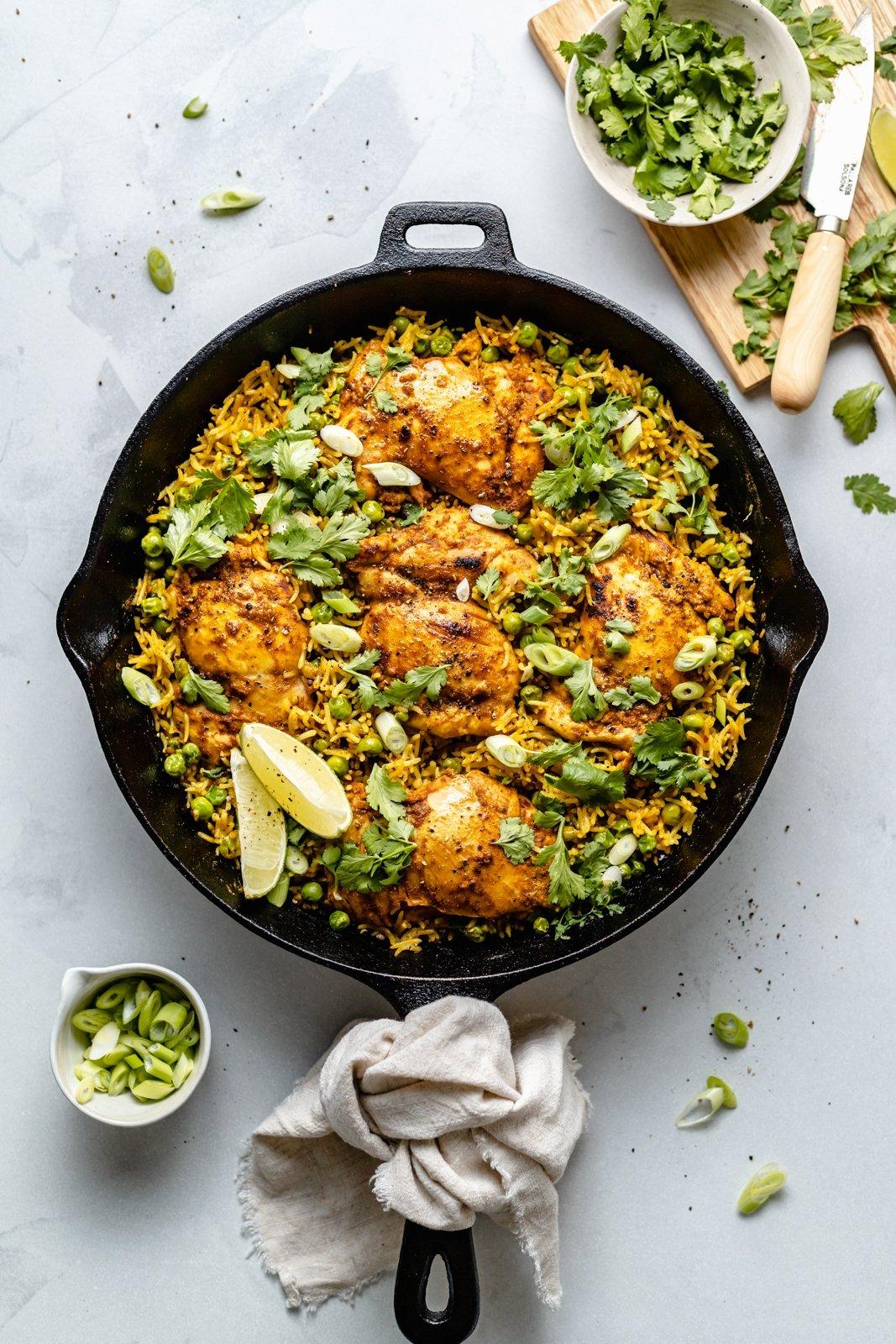one pan tandoori chicken in a skillet