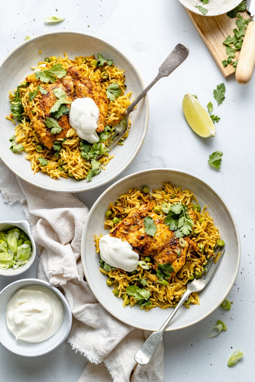 easy tandoori chicken on two plates