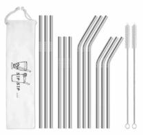 metal straws with a bag