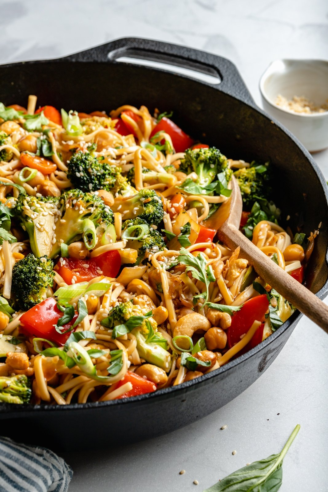 vegan stir fry noodles in a skillet